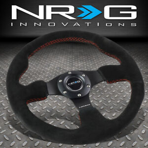 Nrg Reinforced 320mm Type r Black Suede Red Stitch Steering Wheel W horn Button