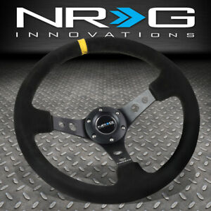 Nrg Reinforced 350mm 3 Deep Dish Steering Wheel Black Suede Yellow Center Stripe