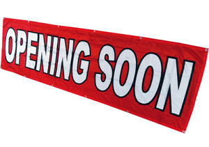 Opening Soon Banner Sign Vinyl Alternative 3x10 Ft Fabric Rb