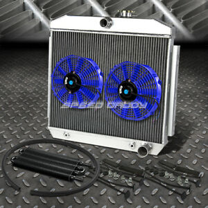 3row Radiator 2x 10 Fan Blue Black Oil Cooler 55 57 Chevy Small Block 150 210 V8