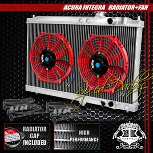 Full Aluminum 2 Row Core Radiator 2x 10 Red Cooling Fan 94 01 Acura Integra Dc2