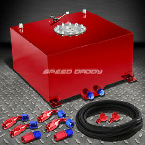 10 Gallon 38l Red Aluminum Fuel Cell Gas Tank Level Sender Nylon Fuel Line Kit