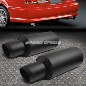 2x 3 inlet 4 5 black Domed Tip T304 Stainless Steel Racing Round Exhaust Muffler