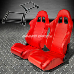 Pair Type 1 Reclining Red Pvc Racing Seat Bracket For 02 06 Acura Rsx Dc5 K20