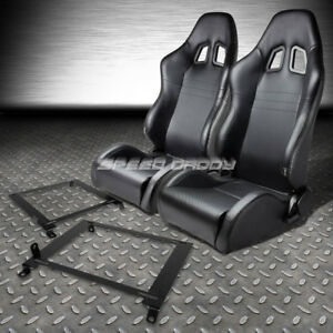 2x Carbon Look Pvc Leather Racing Seats low Mount Bracket For 01 05 Honda Civic