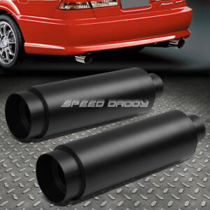 2x 3 inlet With 4 5 black Tip silencer T304 Steel Racing Round Exhaust Muffler