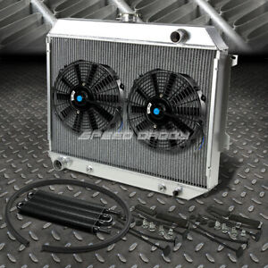 3 Row Aluminum Radiator 2x 12 Fan Oil Cooler Black For 68 73 Satellite Gtx V8