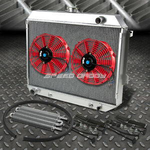 3 Row Aluminum Radiator 2x 12 Fan Red Toc Oil Cooler For 68 73 Satellite Gtx V8