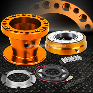 Orange 6 Hole Steering Wheel Hub Adaptor Quick Release For 92 95 Accord Prelude