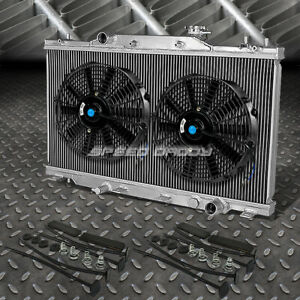 2 Row Aluminum Radiator 2x 9 Fan Black For 02 06 Acura Rsx Type S Integra Dc5