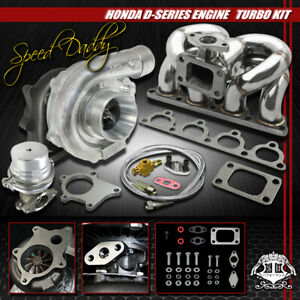 T04e 5pc T3 t4 Turbo Kit Turbocharger ram Horn Manifold wg D15 d16 Civic del Sol