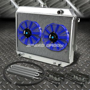3 Row Aluminum Radiator 2x 12 Fan Blue Toc Oil Cooler For 68 73 Satellite Gtx V8