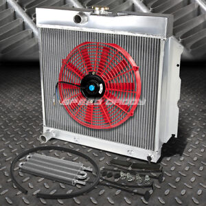 2 Row Aluminum Radiator 1x 16 Fan Red Toc Oil Cooler For 65 69 Charger Hemi V8