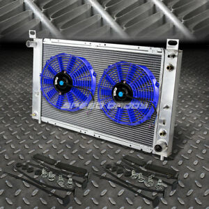 2 row Aluminum Radiator 2x 9 Fan Blue For 99 07 Yukon sierra tahoe escalade V8