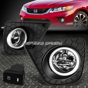 For 13 15 Honda Accord Coupe Clear Lens Bumper Fog Light Lamps W Bezel Switch