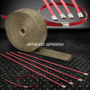 32 10m 2 W Cat Back Exhaust Header Titanium Heat Wrap Stainless Red Zip Tie