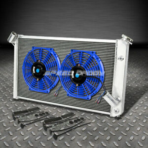 3 Row Core Aluminum Racing Radiator 2x Blue Fans 73 76 Chevy Corvette V8 5 7 7 4