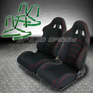 2 X Universal Type f1 Black Woven Racing Seats slider 4 point Camlock Green Belt