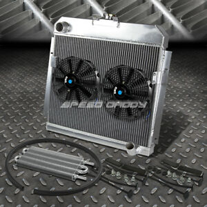 3 Row Radiator 2x 10 Fan Oil Cooler For 53 54 Dodge Mopar 6cyl Chevy Small Block