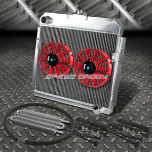 3 Row Radiator 2x 10 Fan Red Oil Cooler For 53 54 Dodge Mopar Chevy Small Block