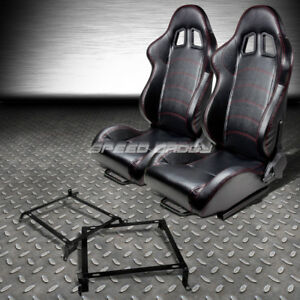 2 Pvc Leather Red Stitches Racing Seats bracket For 88 91 Honda Crx Dx si Ee Ef
