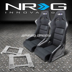 Nrg Fiberglass Bucket Racing Seats T304 Steel Mount Bracket For 99 04 Mustang Sn