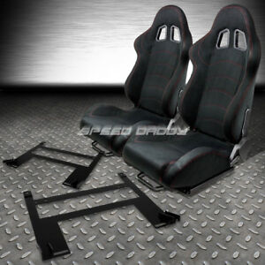 Black Suede Reclinable Racing Seats Low Mount Bracket For 05 10 Chevy Cobalt G5