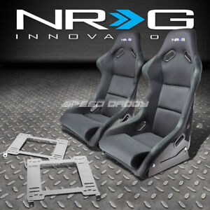 Nrg Fiberglass Bucket Racing Seats Stainless Steel Bracket For 99 04 Mustang Sn