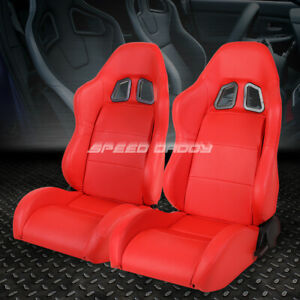 2 X Pvc Leather Red Universal Full Reclinable Xl 06 Sports Style Racing Seat