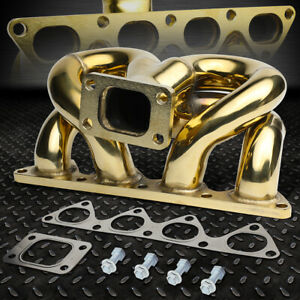 For 1988 2000 Honda Civic D15 D16 Engine Gold Ramhorn T3 Flange Turbo Manifold