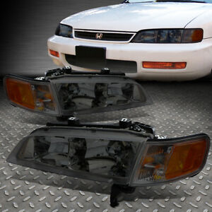 For 94 97 Honda Accord Smoked Housing Amber Corner Headlight Replacement Lamps