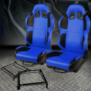 Blue Pvc Reclinable Black Wing Racing Seat Bracket For 92 00 Civic Integra 2 4dr
