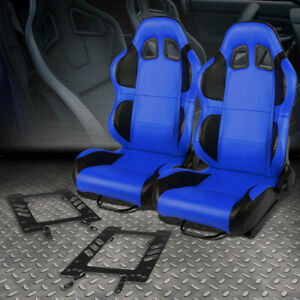 Pair Blue Pvc Reclinable Black Wing Racing Seat Bracket For 79 98 Ford Mustang