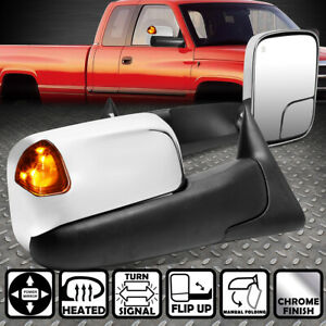 For 94 02 Dodge Ram Pair Powered Heat Amber Led Turn Signal Towing Mirror Chrome