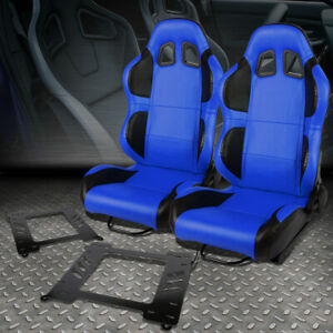2x Blue Pvc Black Wing Racing Seat Bracket For 99 05 Bmw 3 Series M3 E46 Coupe