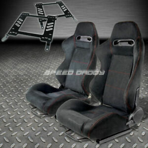 Pair Type R Black Suede Red Stitch Racing Seat Bracket For 00 05 Eclipse 3g