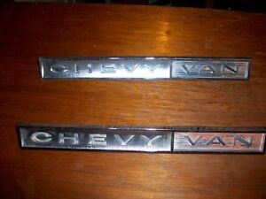 Pair 1964 65 66 Chevrolet Chevy Van Oem Emblems Badges Script Oem 3848719