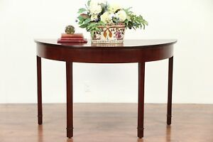 Federal 1810 Antique Mahogany Demilune Half Round Hall Console Table 29546