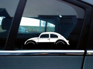 2x Car Silhouette Stickers For Classic Oval Volkswagen Beetle Bug Vintage Vw