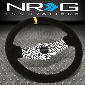 Nrg Reinforced 310mm Japanese Wave Design 1 5 deep Dish Suede Steering Wheel