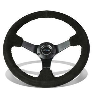 Nrg Reinforced 35cm 3 deep Dish Suede Grip Matte Black 3 spokes Steering Wheel