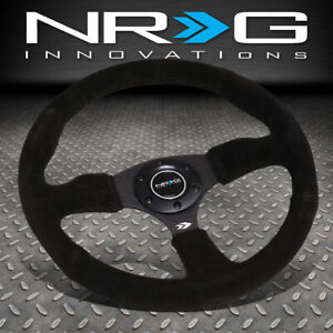 Nrg Reinforced 350mm 2 5 deep Dish Black Suede Racing Steering Wheel horn Button