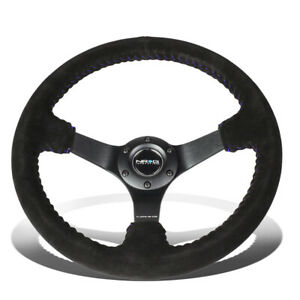 Nrg Reinforced 35cm 3 deep Dish Black Suede Blue Stitch Racing Steering Wheel