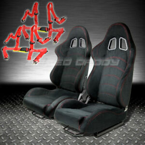 T1 Fully Reclinable Black Suede Racing Seat Seats Slider 4pt Red Harness Belt