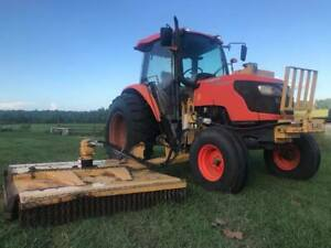 2010 Kubota M9540f Cab Air Tractor With Side Arm Cutter 95hp 6659 Hours