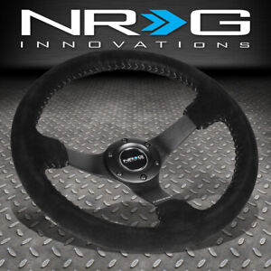 Nrg Reinforced 350mm 3 deep Dish Black Suede Grip Silver Stitch Steering Wheel