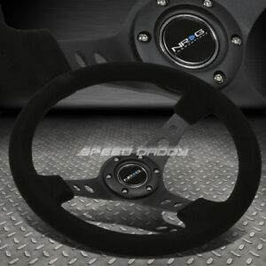 Nrg Reinforced 350mm 3 Deep Dish Black Spoke Suede Steering Wheel W Horn Button