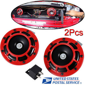 2 Pcs Universal Red Grille Mount Super Tone Loud 12v Compact Electric Horn Kits