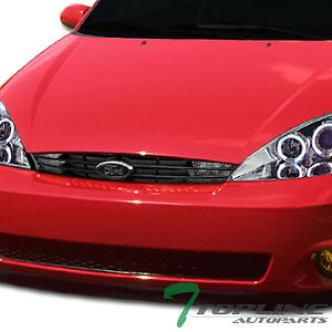 Topline For 2000 2004 Ford Focus Oe Front Bumper Grille signal Lamps Matte Blk