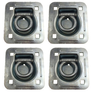 4 Pack Chain Rope Tie Down Trailer 4 bolt Steel Recessed D ring 6000 Mbs Rated